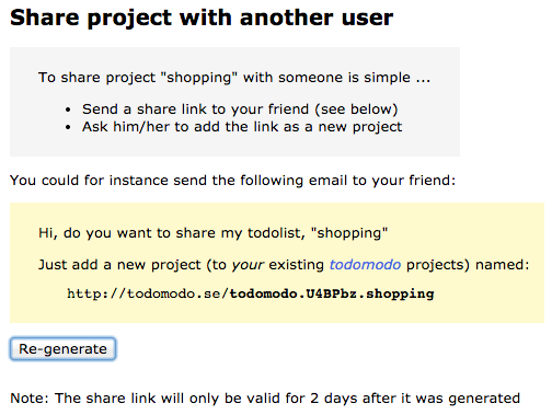 Project share view