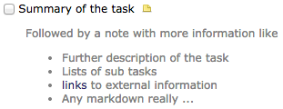 View of a task with a note